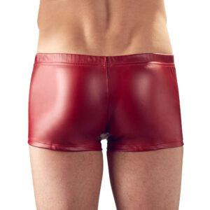 Svenjoyment Red Matt Look Pants With Rhinestones