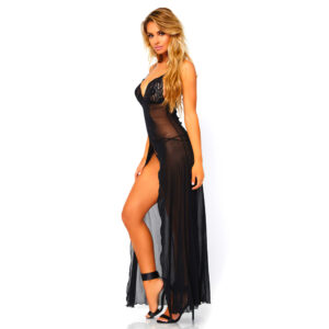 Leg Avenue Mesh And Lace High Slit Gown And String UK 8 to 14