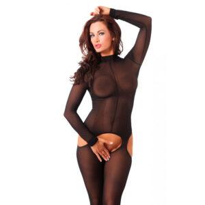 Sensual Black Open Crotch Catsuit