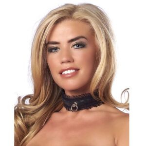 Satin Look Black Collar With O Ring